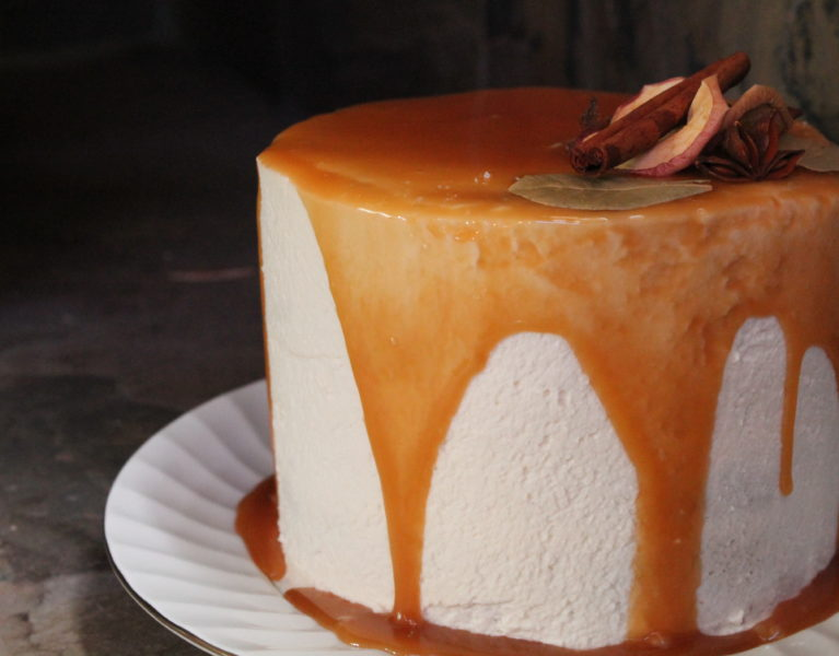 Apple Butter Cake with Bourbon Caramel & Mascarpone Icing