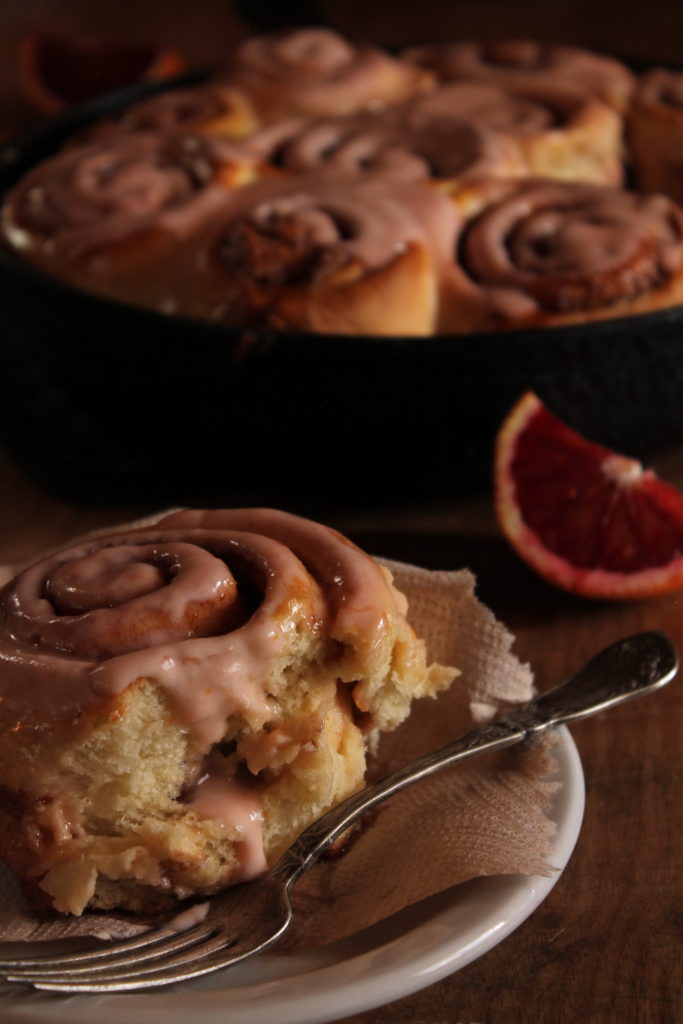 Sweet Rolls with Cardamom & Blood Orange Cream Cheese Frosting