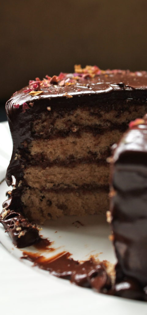 Earl Grey Cake with Chocolate-Rosewater Mousse & Dark Chocolate Frosting